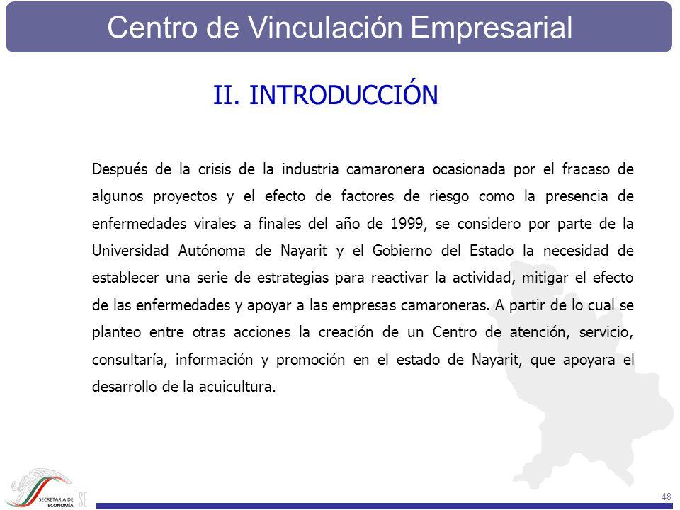 Centro de Vinculación Empresarial 48 Después de la crisis de la industria camaronera ocasionada por el fracaso de algunos proyectos y el efecto de fac
