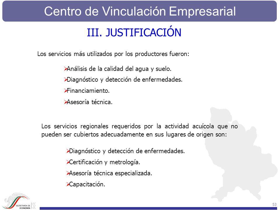 Centro de Vinculación Empresarial 53 Los servicios regionales requeridos por la actividad acuícola que no pueden ser cubiertos adecuadamente en sus lu
