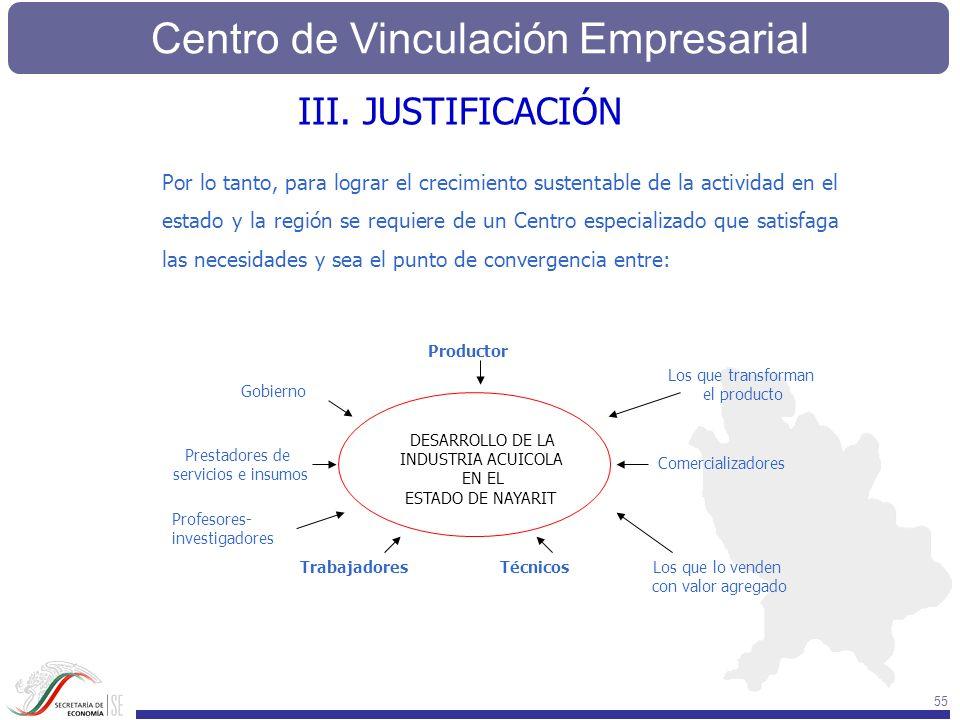 Centro de Vinculación Empresarial 55 Por lo tanto, para lograr el crecimiento sustentable de la actividad en el estado y la región se requiere de un C