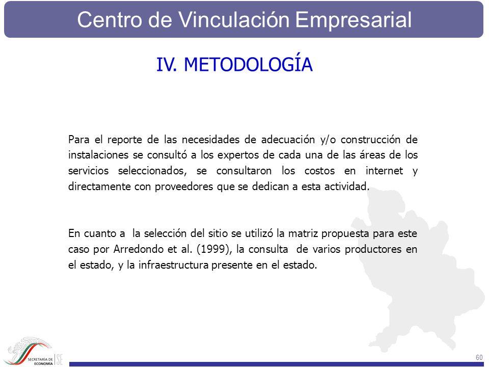 Centro de Vinculación Empresarial 60 IV. METODOLOGÍA Para el reporte de las necesidades de adecuación y/o construcción de instalaciones se consultó a