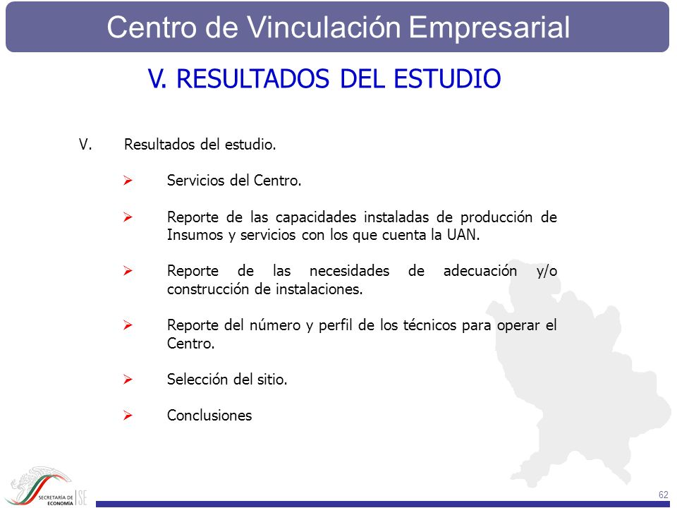 Centro de Vinculación Empresarial 62 V.Resultados del estudio. Servicios del Centro. Reporte de las capacidades instaladas de producción de Insumos y