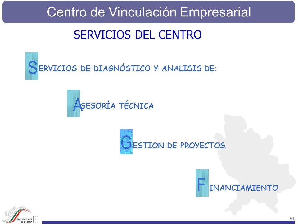 Centro de Vinculación Empresarial 64 SESORÍA TÉCNICA A ERVICIOS DE DIAGNÓSTICO Y ANALISIS DE: S INANCIAMIENTO F ESTION DE PROYECTOS G SERVICIOS DEL CE