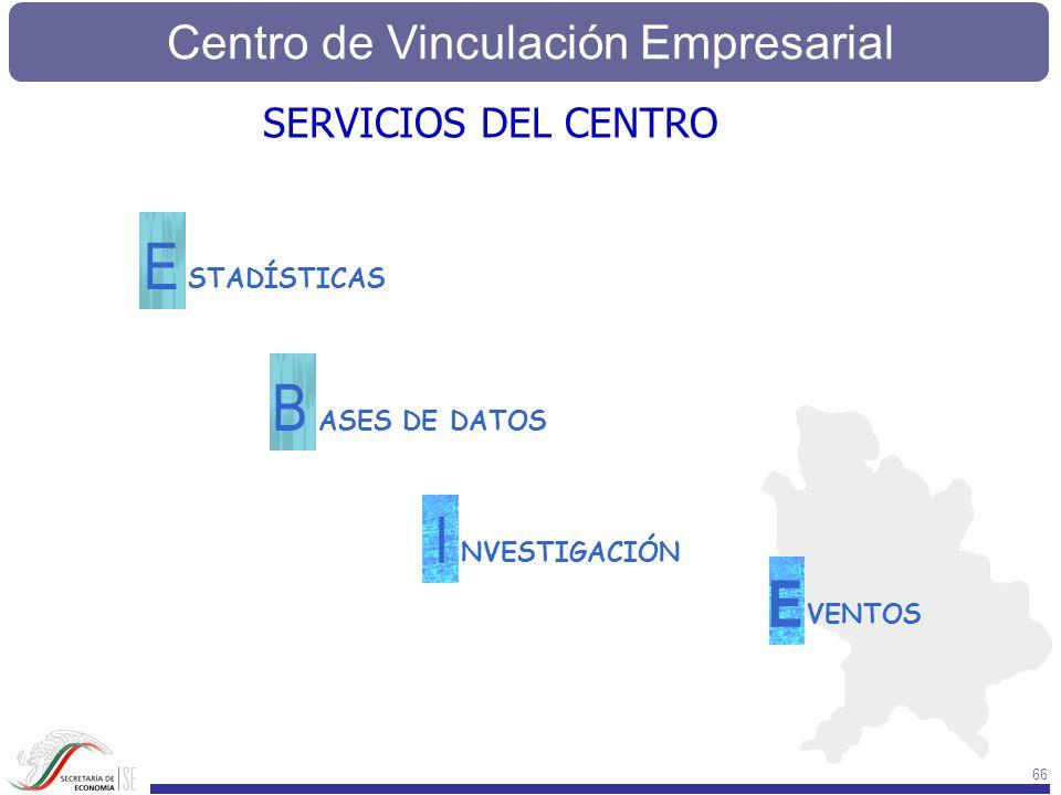 Centro de Vinculación Empresarial 66 STADÍSTICAS E ASES DE DATOS B NVESTIGACIÓN I VENTOS E SERVICIOS DEL CENTRO