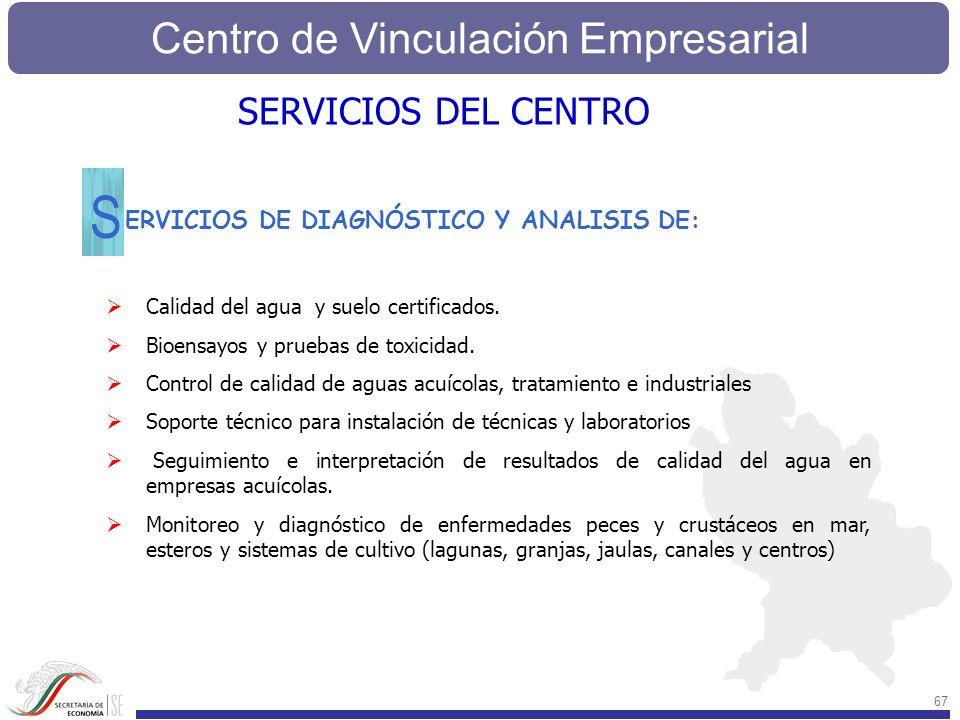 Centro de Vinculación Empresarial 67 ERVICIOS DE DIAGNÓSTICO Y ANALISIS DE: S Calidad del agua y suelo certificados. Bioensayos y pruebas de toxicidad
