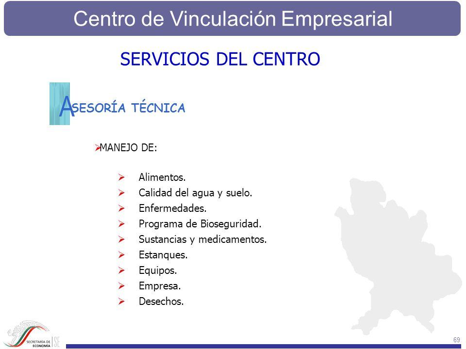 Centro de Vinculación Empresarial 69 SESORÍA TÉCNICA MANEJO DE: Alimentos. Calidad del agua y suelo. Enfermedades. Programa de Bioseguridad. Sustancia