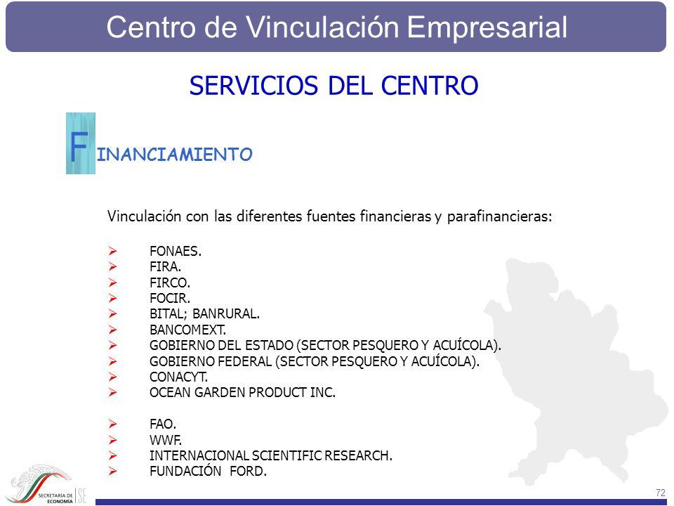 Centro de Vinculación Empresarial 72 INANCIAMIENTO F Vinculación con las diferentes fuentes financieras y parafinancieras: FONAES. FIRA. FIRCO. FOCIR.