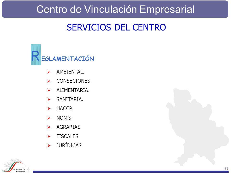 Centro de Vinculación Empresarial 73 EGLAMENTACIÓN R AMBIENTAL. CONSECIONES. ALIMENTARIA. SANITARIA. HACCP. NOMS. AGRARIAS FISCALES JURÍDICAS SERVICIO