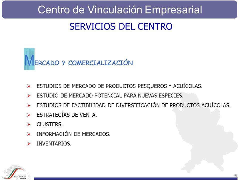 Centro de Vinculación Empresarial 76 SERVICIOS DEL CENTRO ERCADO Y COMERCIALIZACIÓN M ESTUDIOS DE MERCADO DE PRODUCTOS PESQUEROS Y ACUÍCOLAS. ESTUDIO