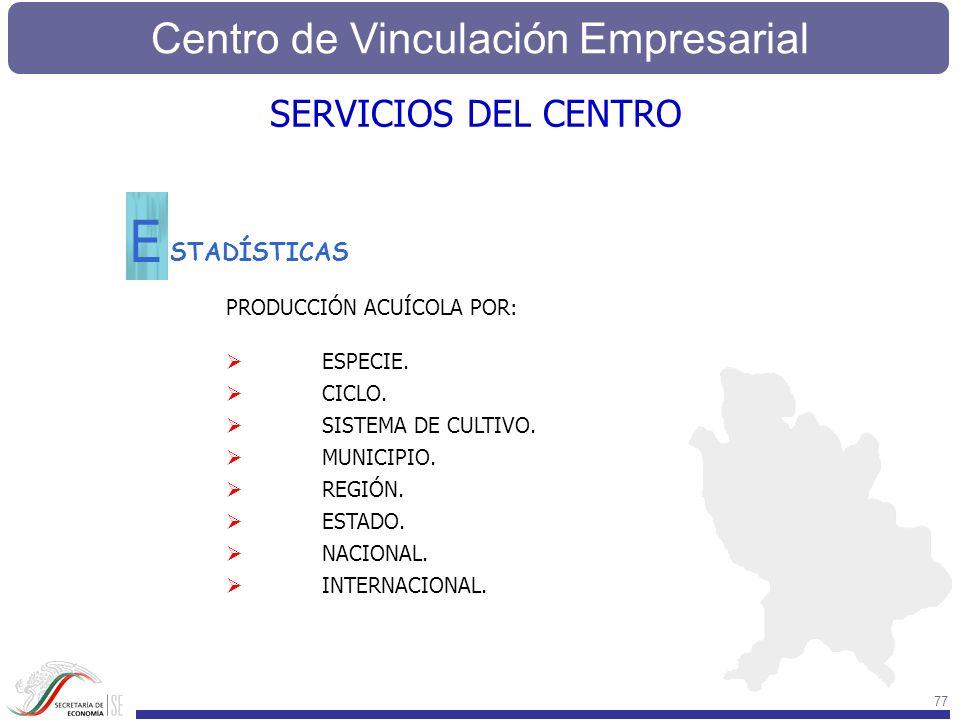 Centro de Vinculación Empresarial 77 STADÍSTICAS E SERVICIOS DEL CENTRO PRODUCCIÓN ACUÍCOLA POR: ESPECIE. CICLO. SISTEMA DE CULTIVO. MUNICIPIO. REGIÓN
