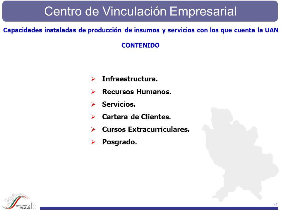 Centro de Vinculación Empresarial 84 Infraestructura. Recursos Humanos. Servicios. Cartera de Clientes. Cursos Extracurriculares. Posgrado. Capacidade