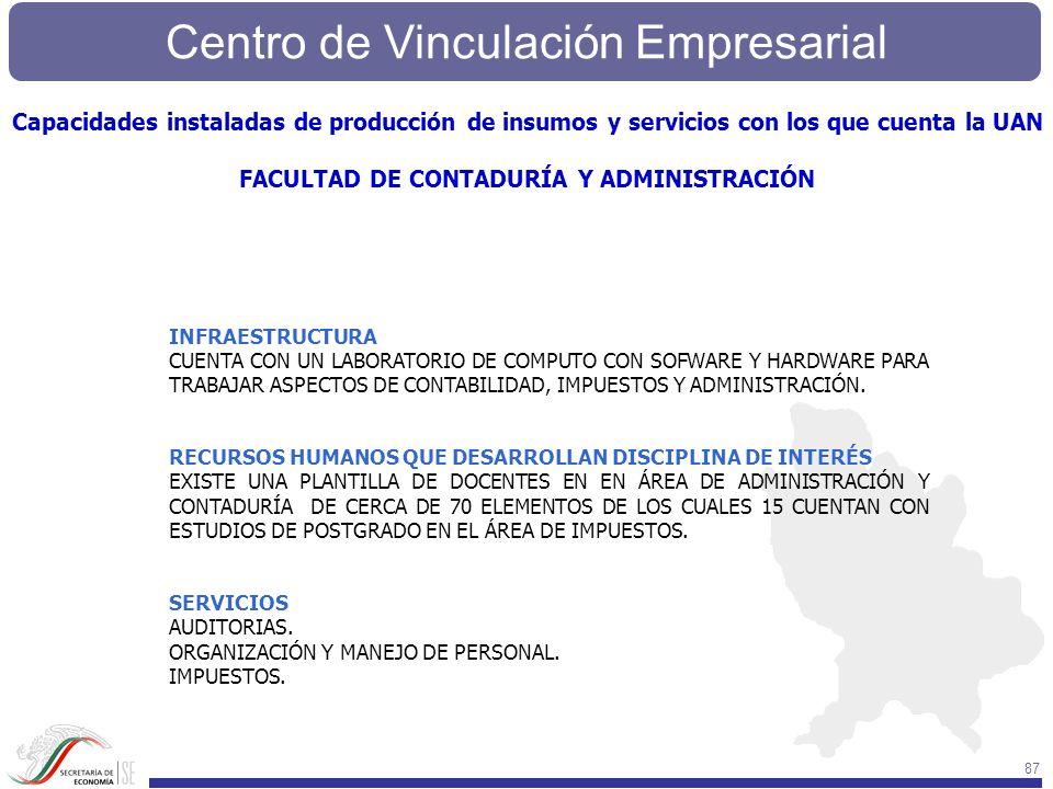 Centro de Vinculación Empresarial 87 INFRAESTRUCTURA CUENTA CON UN LABORATORIO DE COMPUTO CON SOFWARE Y HARDWARE PARA TRABAJAR ASPECTOS DE CONTABILIDA