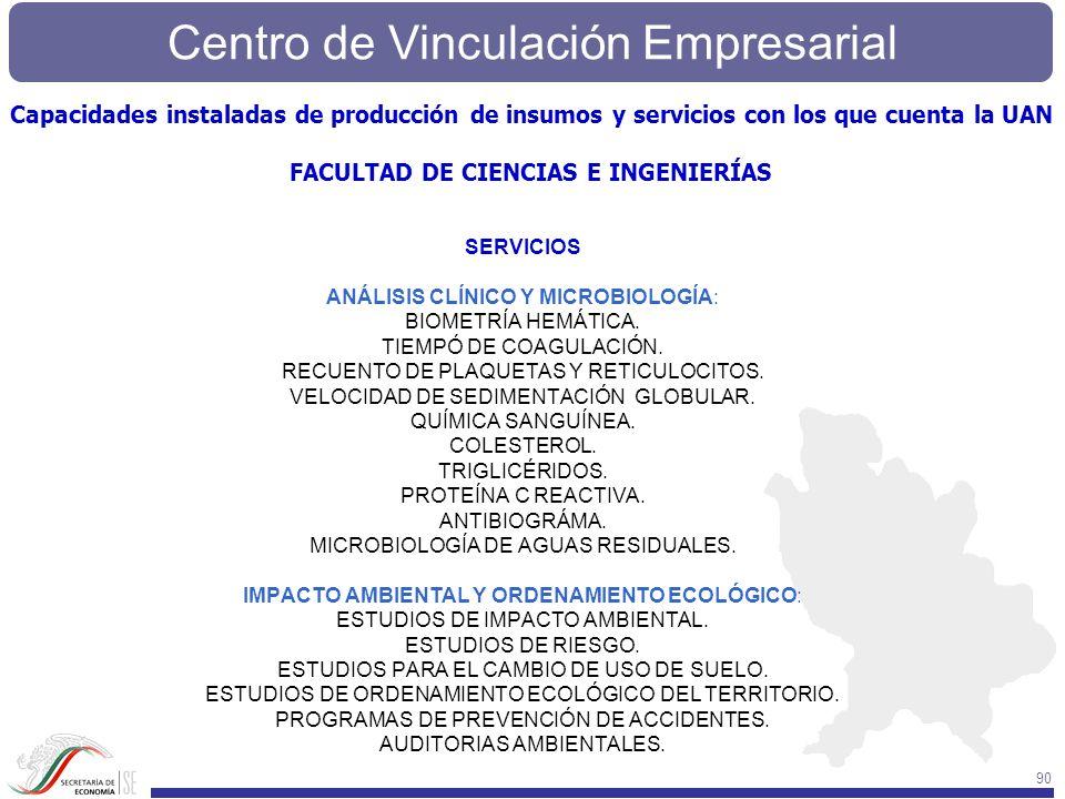 Centro de Vinculación Empresarial 90 SERVICIOS ANÁLISIS CLÍNICO Y MICROBIOLOGÍA: BIOMETRÍA HEMÁTICA. TIEMPÓ DE COAGULACIÓN. RECUENTO DE PLAQUETAS Y RE