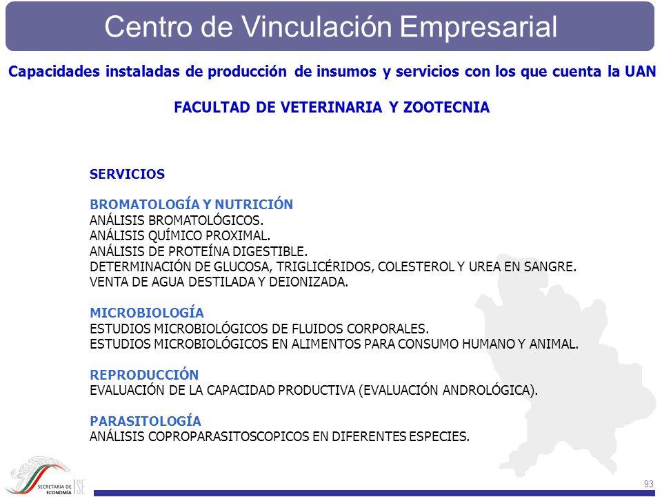Centro de Vinculación Empresarial 93 SERVICIOS BROMATOLOGÍA Y NUTRICIÓN ANÁLISIS BROMATOLÓGICOS. ANÁLISIS QUÍMICO PROXIMAL. ANÁLISIS DE PROTEÍNA DIGES