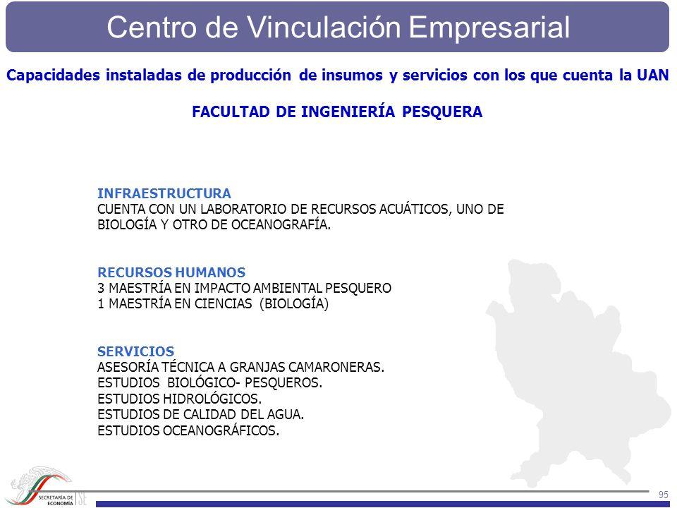 Centro de Vinculación Empresarial 95 INFRAESTRUCTURA CUENTA CON UN LABORATORIO DE RECURSOS ACUÁTICOS, UNO DE BIOLOGÍA Y OTRO DE OCEANOGRAFÍA. RECURSOS
