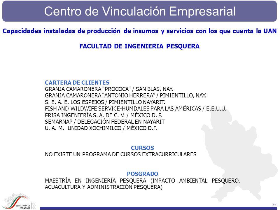 Centro de Vinculación Empresarial 96 CARTERA DE CLIENTES GRANJA CAMARONERA PROCOCA / SAN BLAS, NAY. GRANJA CAMARONERA ANTONIO HERRERA / PIMIENTILLO, N