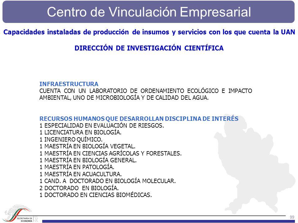 Centro de Vinculación Empresarial 99 INFRAESTRUCTURA CUENTA CON UN LABORATORIO DE ORDENAMIENTO ECOLÓGICO E IMPACTO AMBIENTAL, UNO DE MICROBIOLOGÍA Y D