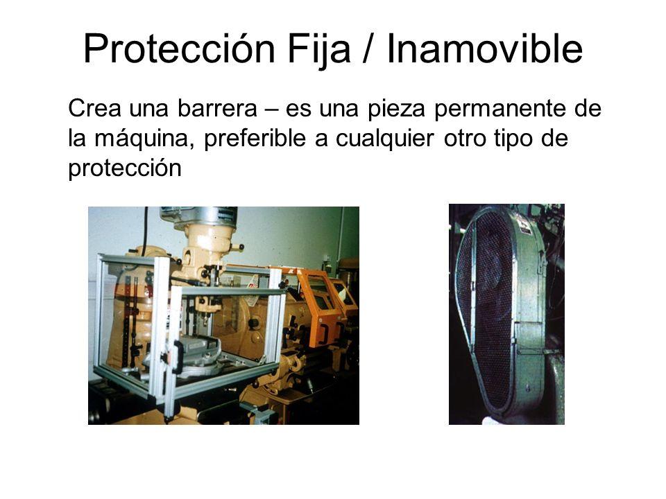 Métodos para Protegerse de los Peligros de las Máquinas Cubiertas / Protecciones físicas Dispositivos de seguridad Ubicación /Distancia