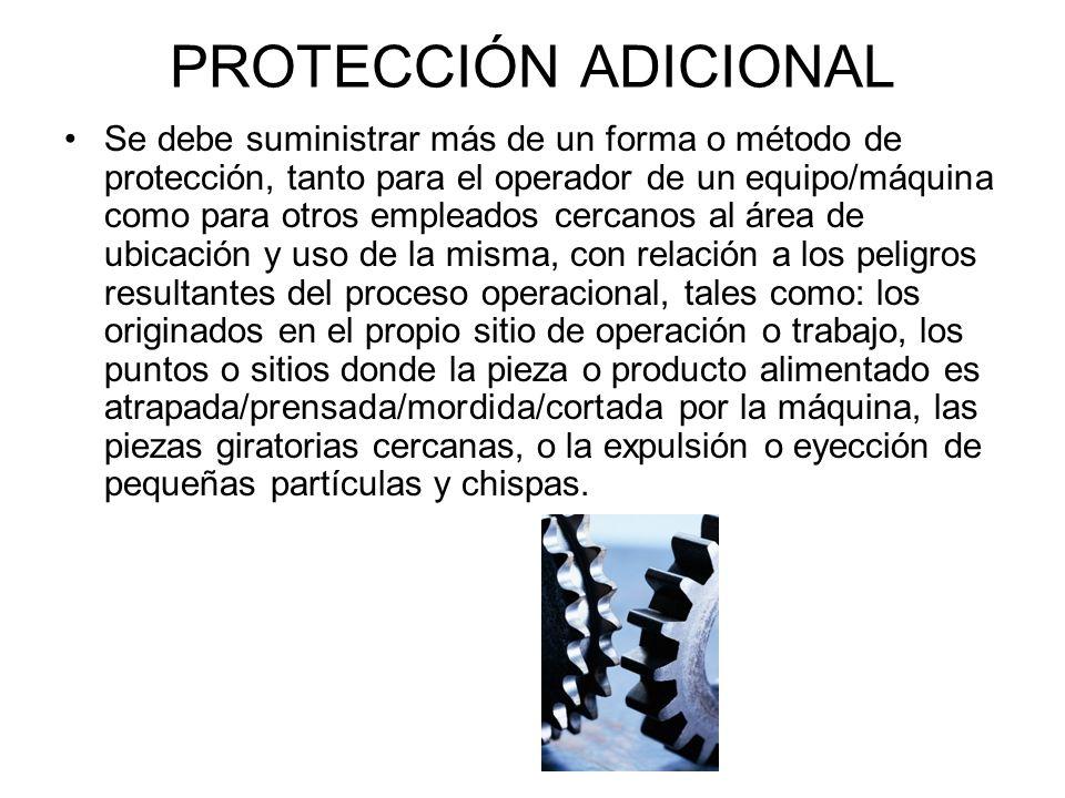 Protecciones Auto-Ajustables Crean una barrera de protección que se ajusta de acuerdo con el tamaño de la pieza que está entrando al área o zona de peligro (pieza que está siendo alimentada a la máquina o equipo) Sierra circular en mesa de corte con protección auto- ajustable
