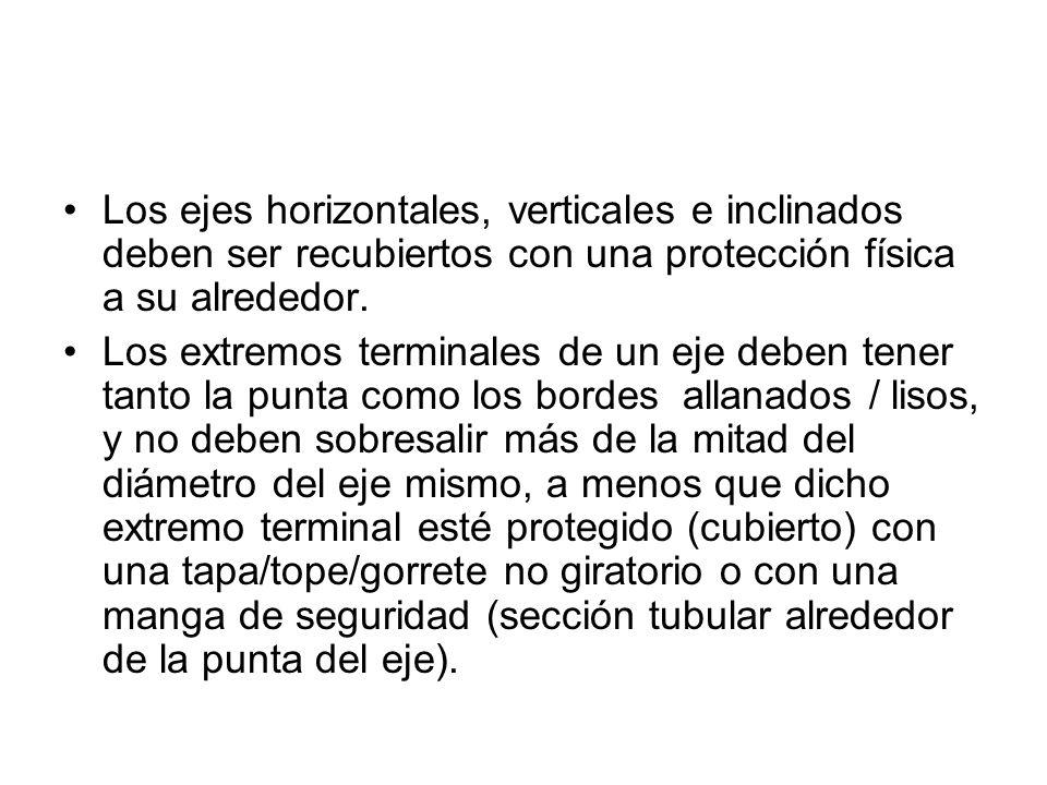 Todas las correas, poleas, engranajes, ejes, y piezas con movimiento deben estar cubiertas/protegidas de acuerdo con las dispocisiones especificadas en la normativa (estándar) 1910.219.
