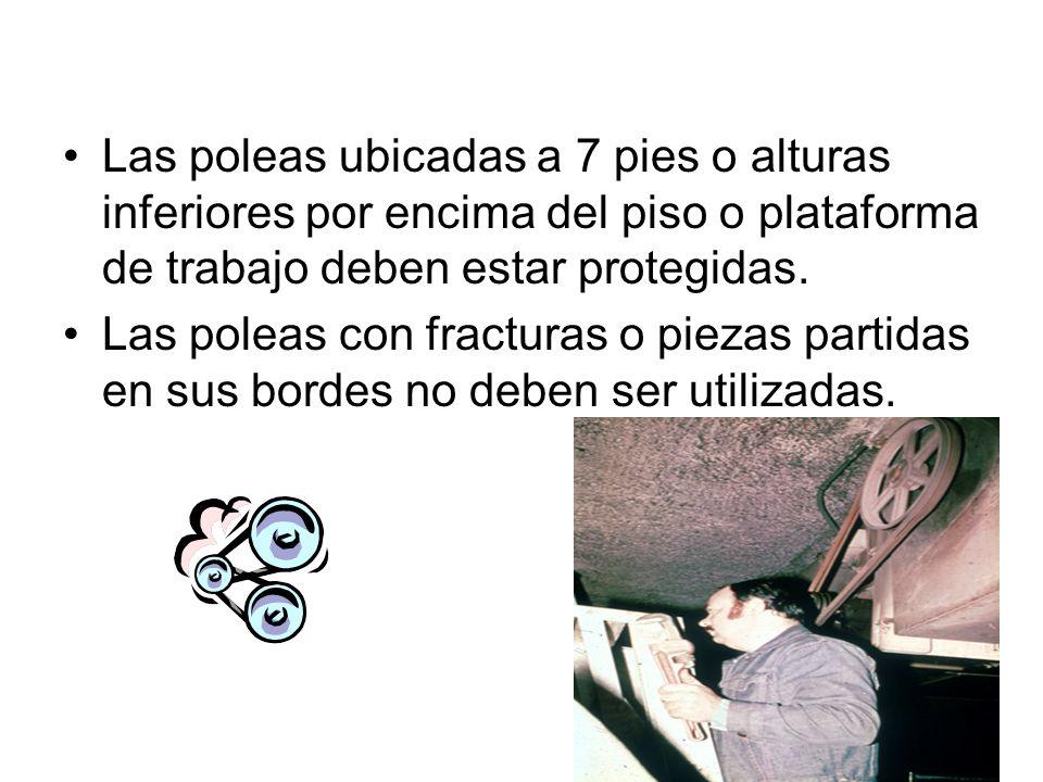 Los ejes horizontales, verticales e inclinados deben ser recubiertos con una protección física a su alrededor.