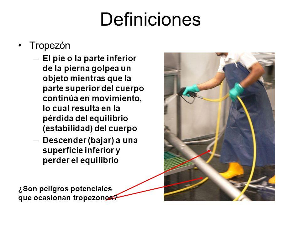 Definiciones Resbalón –Muy poca fricción o adherencia (agarre) entre los pies (botas/zapatos) y la superficie de trabajo o por donde se camina, lo cual ocasiona pérdida de equilibrio