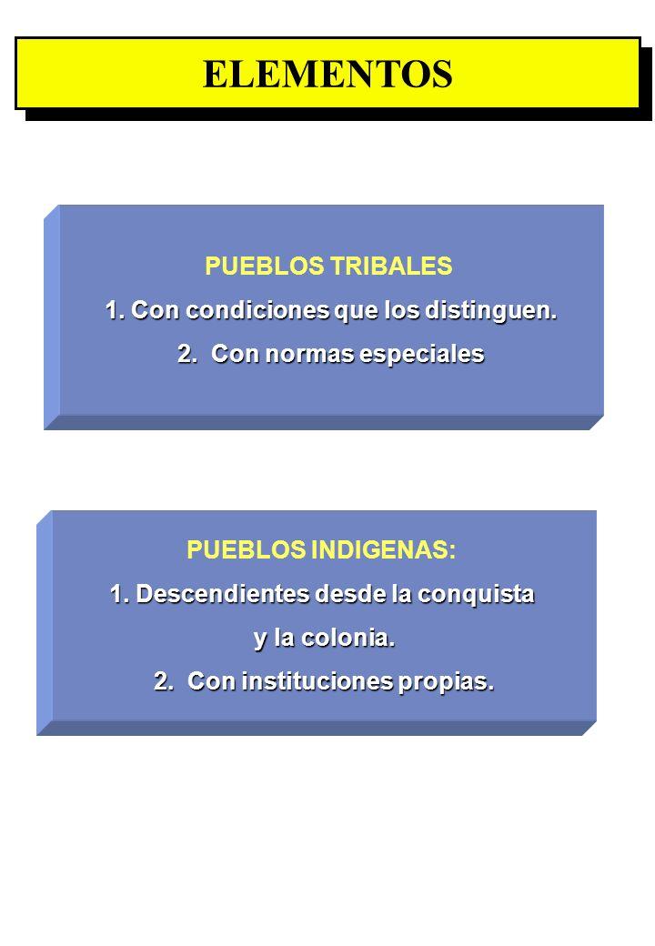 Proyecto OIT Sobre Pueblos Indígenas y Tribales Transparencia No. 11 ELEMENTOS PUEBLOS INDIGENAS: 1. Descendientes desde la conquista y la colonia. 2.