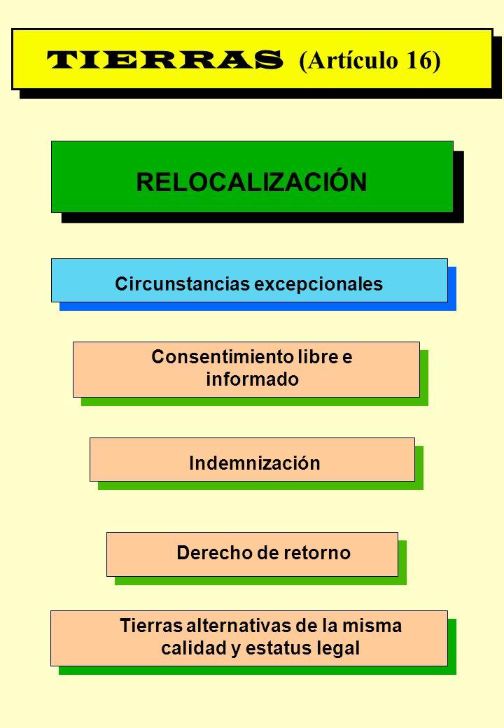 Proyecto OIT Sobre Pueblos Indígenas y Tribales Transparencia No. 22 TIERRAS (Artículo 16) RELOCALIZACIÓN Circunstancias excepcionales Consentimiento
