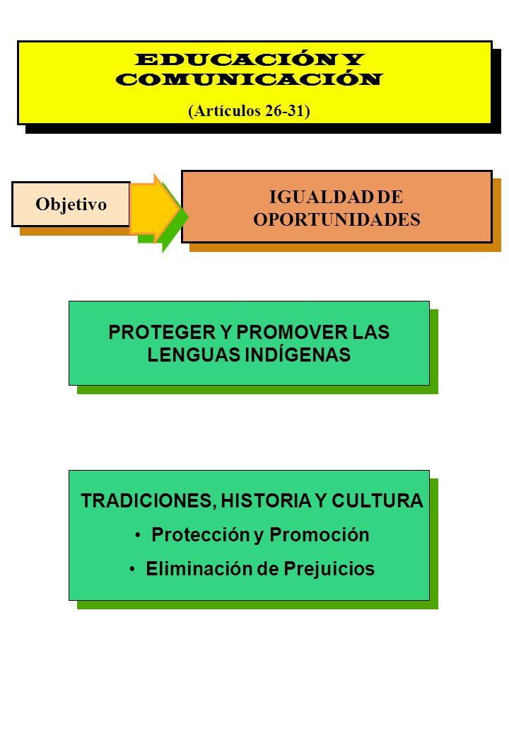 Proyecto OIT Sobre Pueblos Indígenas y Tribales Transparencia No. 28 EDUCACIÓN Y COMUNICACIÓN (Artículos 26-31) Objetivo IGUALDAD DE OPORTUNIDADES PRO