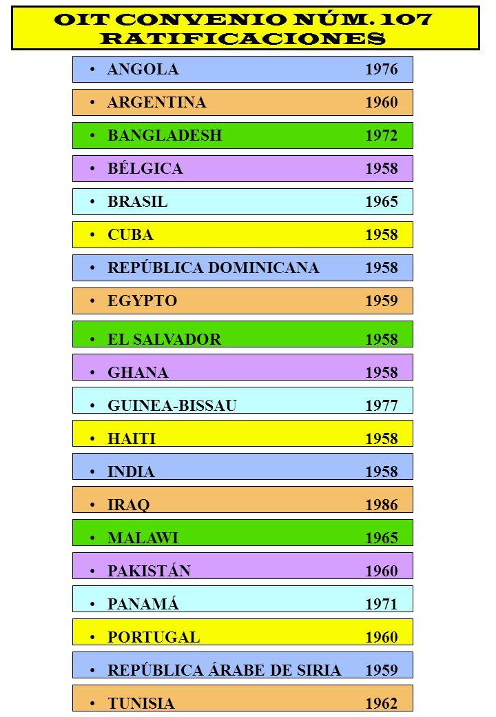 OIT CONVENIO NÚM. 107 RATIFICACIONES CUBA1958 REPÚBLICA DOMINICANA1958 EGYPTO1959 EL SALVADOR1958 GHANA1958 GUINEA-BISSAU1977 HAITI1958 INDIA1958 IRAQ
