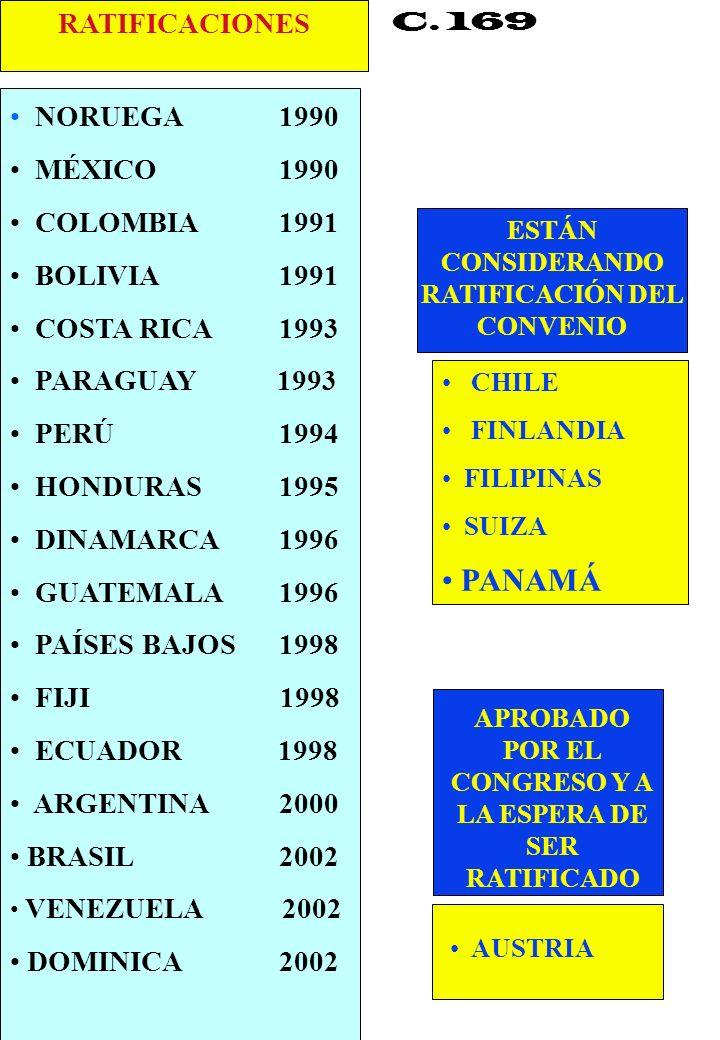 Proyecto OIT Sobre Pueblos Indígenas y Tribales Transparencia No. 36 C. 169 NORUEGA 1990 MÉXICO 1990 COLOMBIA 1991 BOLIVIA 1991 COSTA RICA 1993 PARAGU