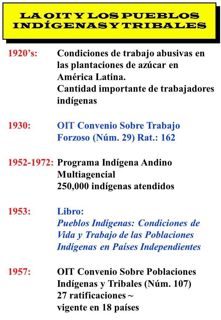 Proyecto OIT Sobre Pueblos Indígenas y Tribales Transparencia No. 5 LA OIT Y LOS PUEBLOS INDÍGENAS Y TRIBALES 1920s:Condiciones de trabajo abusivas en