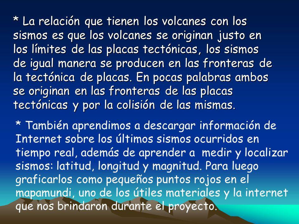 * La relación que tienen los volcanes con los sismos es que los volcanes se originan justo en los límites de las placas tectónicas, los sismos de igua