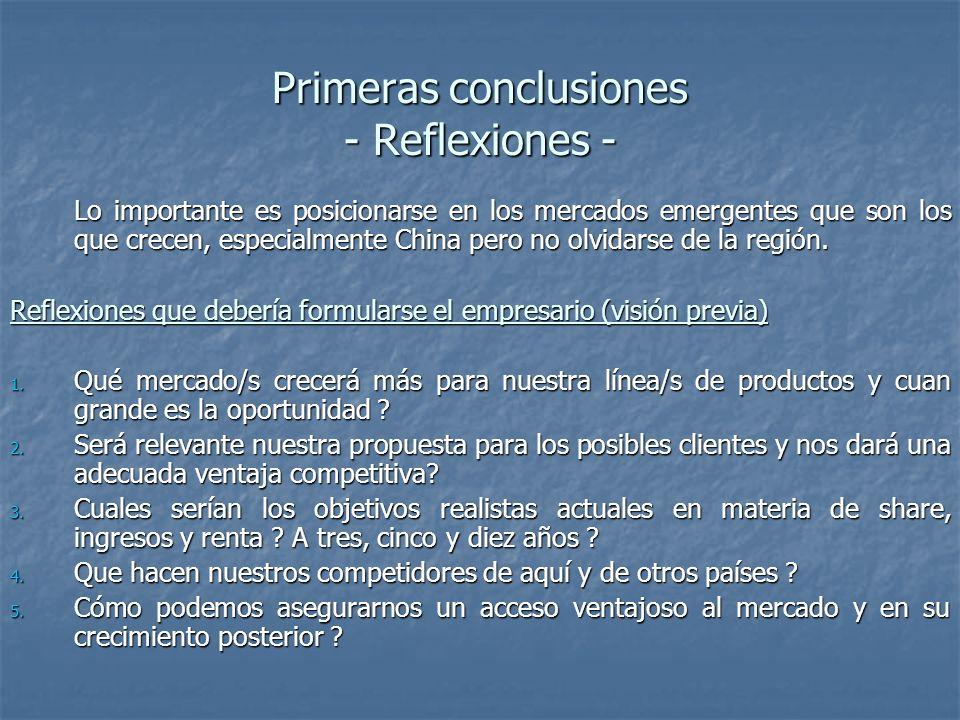 Primeras conclusiones - Reflexiones - Lo importante es posicionarse en los mercados emergentes que son los que crecen, especialmente China pero no olvidarse de la región.
