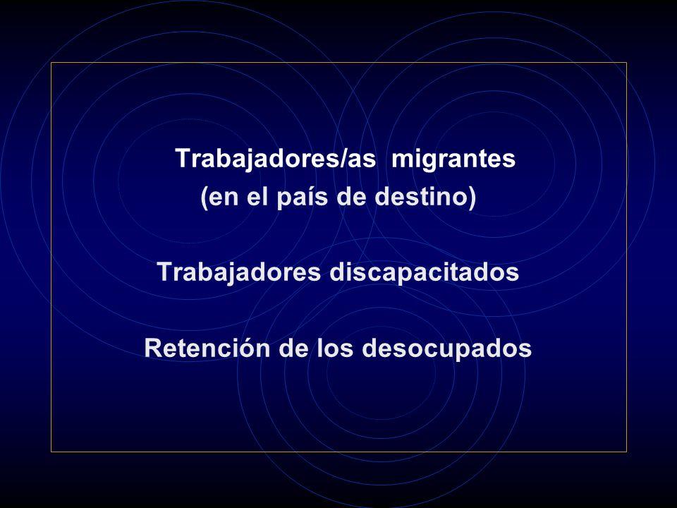 Trabajadores/as migrantes (en el país de destino) Trabajadores discapacitados Retención de los desocupados