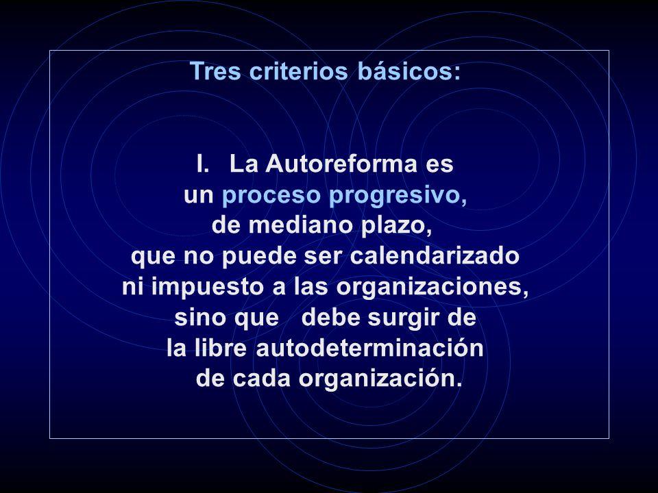 Tres criterios básicos: I.La Autoreforma es un proceso progresivo, de mediano plazo, que no puede ser calendarizado ni impuesto a las organizaciones, sino que debe surgir de la libre autodeterminación de cada organización.