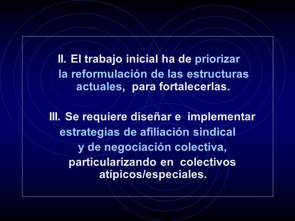 II. El trabajo inicial ha de priorizar la reformulación de las estructuras actuales, para fortalecerlas. III. Se requiere diseñar e implementar estrat