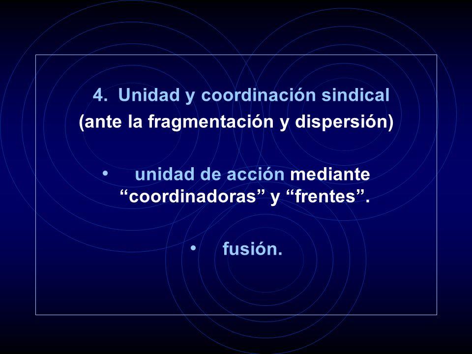 4. Unidad y coordinación sindical (ante la fragmentación y dispersión) unidad de acción mediante coordinadoras y frentes. fusión.