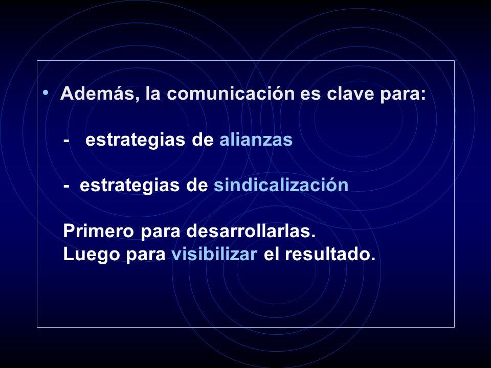 Además, la comunicación es clave para: - estrategias de alianzas - estrategias de sindicalización Primero para desarrollarlas.