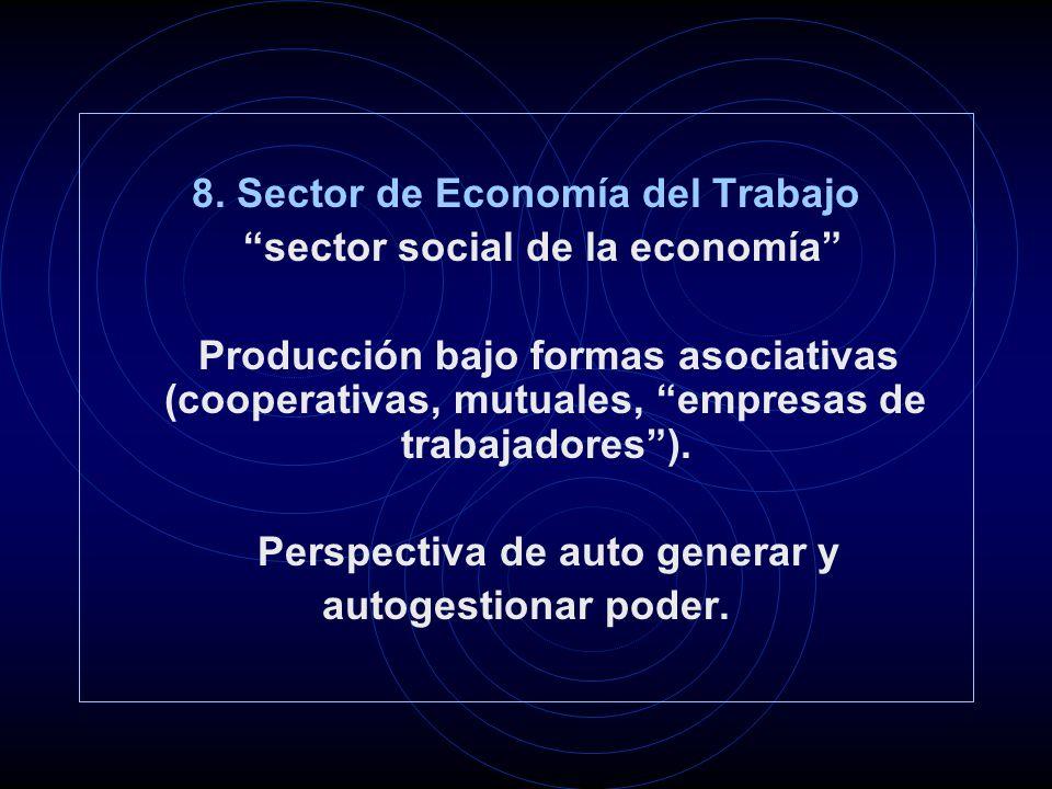 8. Sector de Economía del Trabajo sector social de la economía Producción bajo formas asociativas (cooperativas, mutuales, empresas de trabajadores).