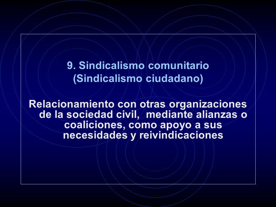 9. Sindicalismo comunitario (Sindicalismo ciudadano) Relacionamiento con otras organizaciones de la sociedad civil, mediante alianzas o coaliciones, c
