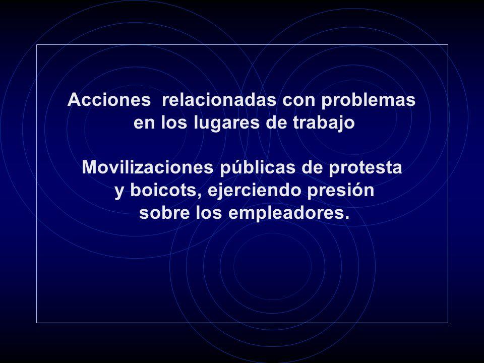 Acciones relacionadas con problemas en los lugares de trabajo Movilizaciones públicas de protesta y boicots, ejerciendo presión sobre los empleadores.