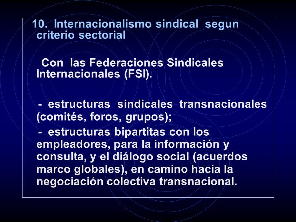 10. Internacionalismo sindical segun criterio sectorial Con las Federaciones Sindicales Internacionales (FSI). - estructuras sindicales transnacionale