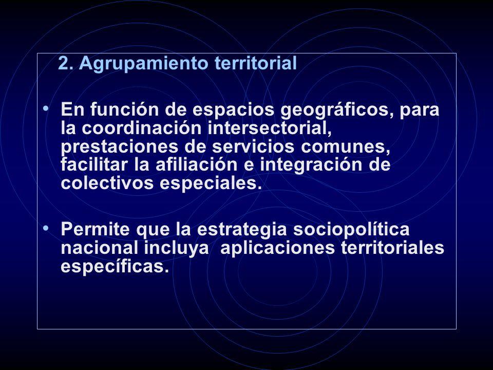 2. Agrupamiento territorial En función de espacios geográficos, para la coordinación intersectorial, prestaciones de servicios comunes, facilitar la a