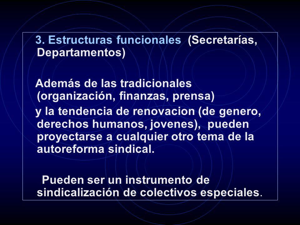 3. Estructuras funcionales (Secretarías, Departamentos) Además de las tradicionales (organización, finanzas, prensa) y la tendencia de renovacion (de