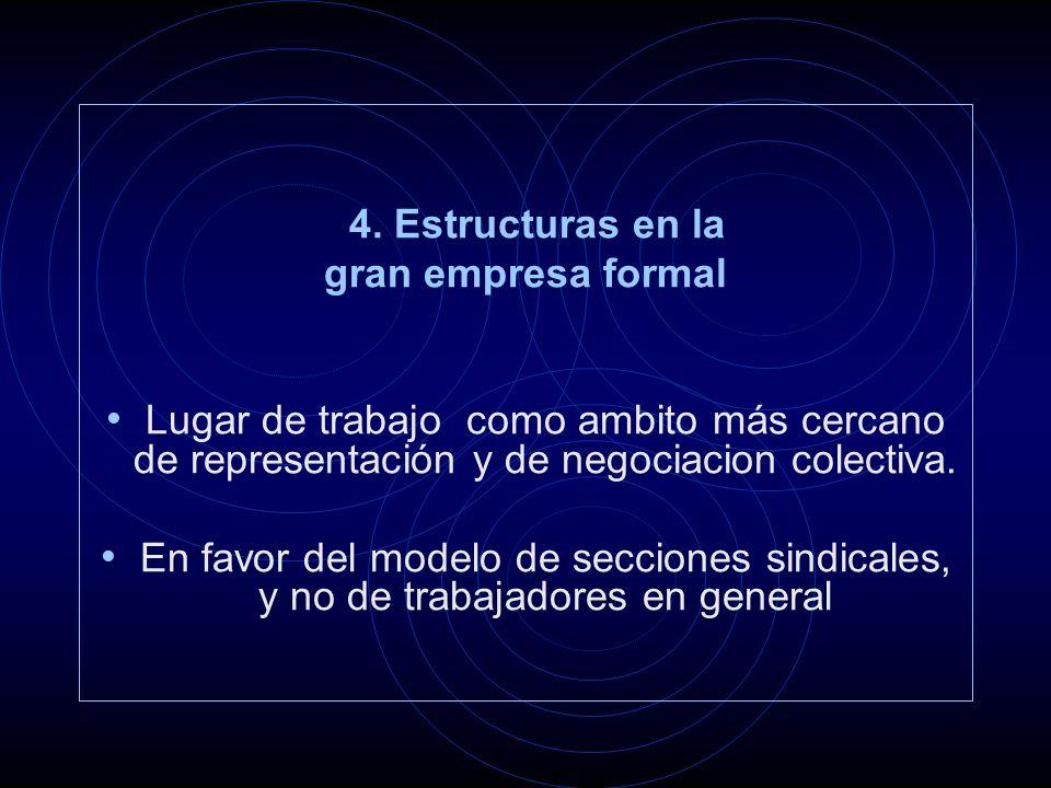 4. Estructuras en la gran empresa formal Lugar de trabajo como ambito más cercano de representación y de negociacion colectiva. En favor del modelo de