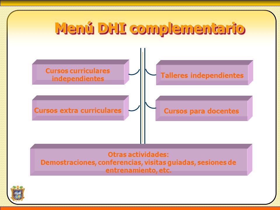 Menú DHI complementario Menú DHI complementario Cursos curriculares independientes Cursos extra curriculares Talleres independientes Cursos para docen