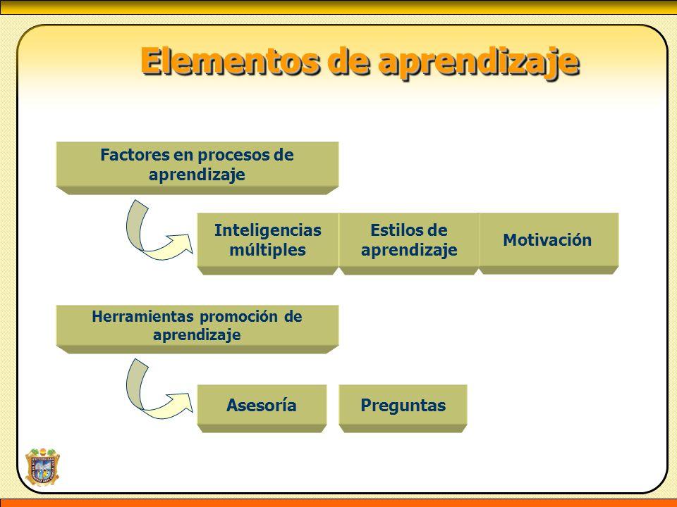 Elementos de aprendizaje Elementos de aprendizaje Factores en procesos de aprendizaje Inteligencias múltiples Motivación Estilos de aprendizaje Herram