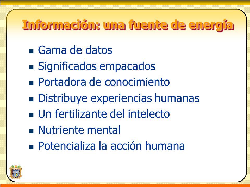 Información: una fuente de energía Información: una fuente de energía Gama de datos Significados empacados Portadora de conocimiento Distribuye experi