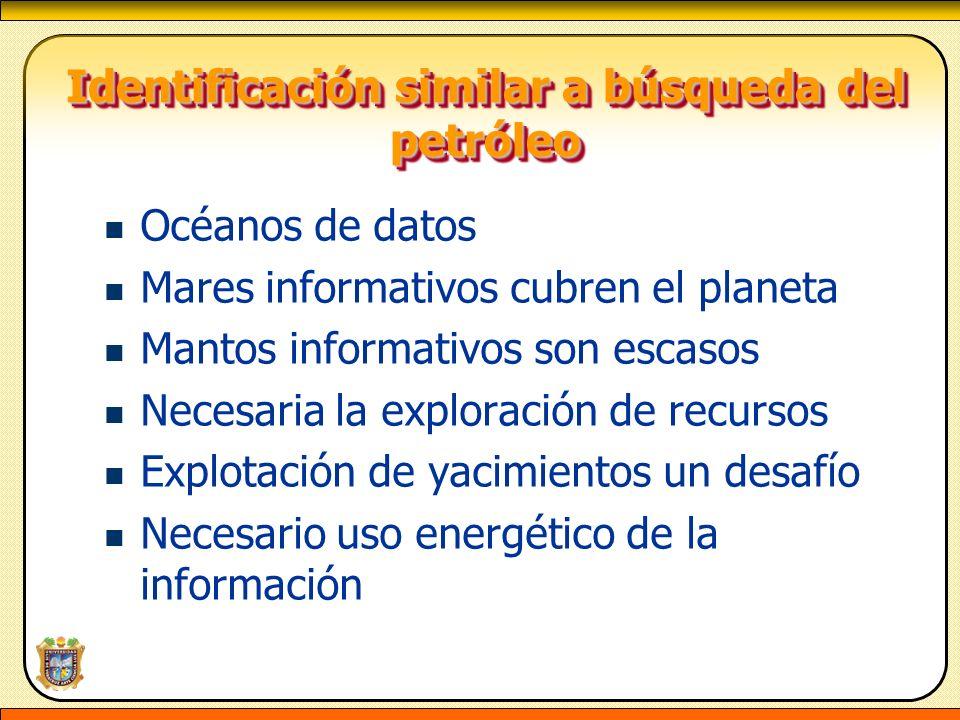 Identificación similar a búsqueda del petróleo Identificación similar a búsqueda del petróleo Océanos de datos Mares informativos cubren el planeta Ma