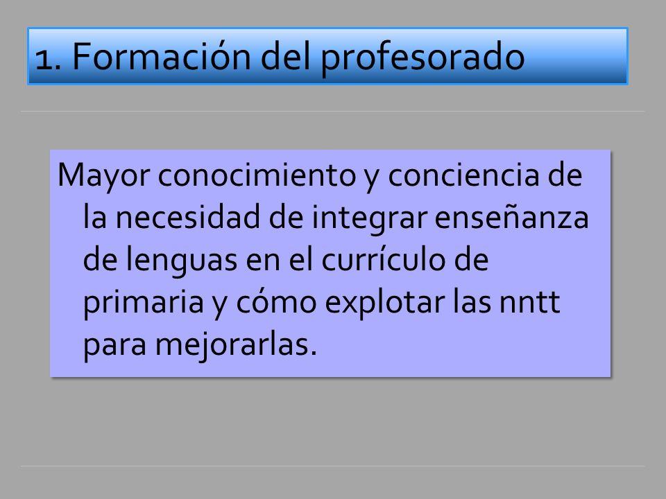 Mayor conocimiento y conciencia de la necesidad de integrar enseñanza de lenguas en el currículo de primaria y cómo explotar las nntt para mejorarlas.
